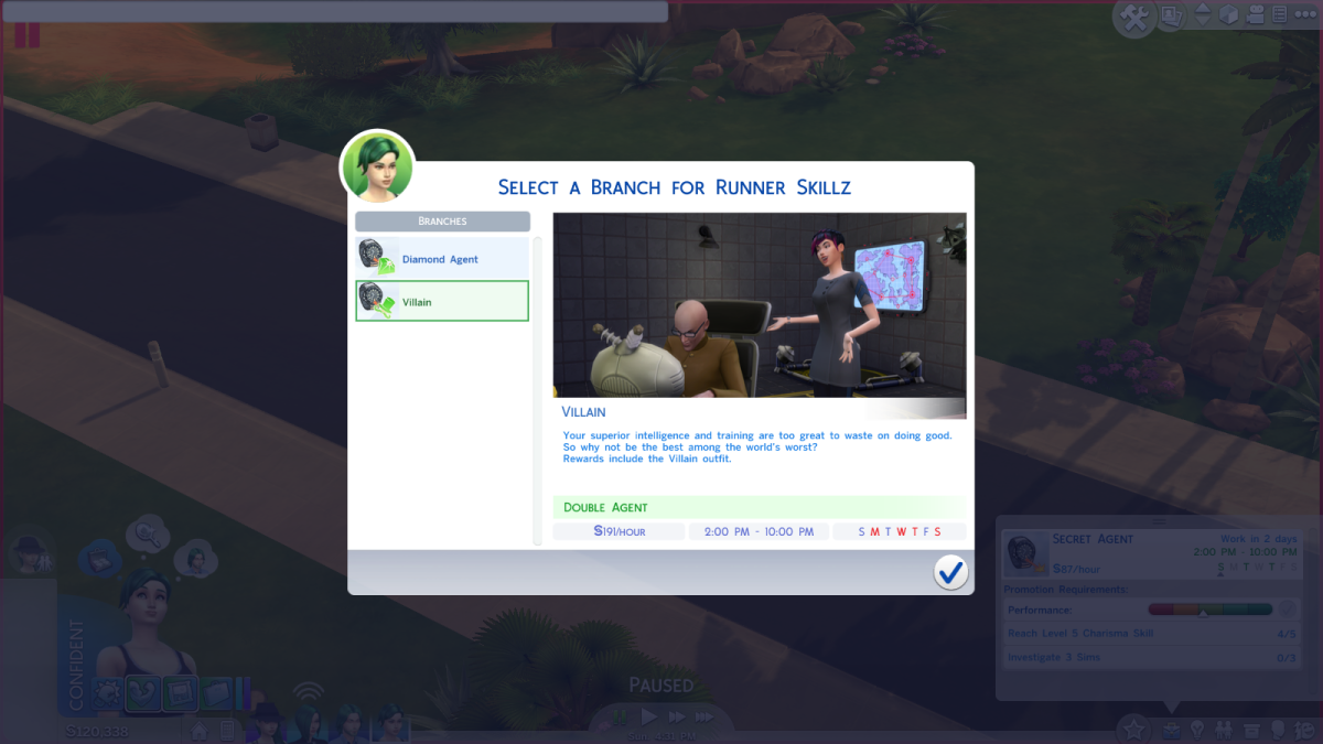 "The Villain career branch in ""The Sims 4."""