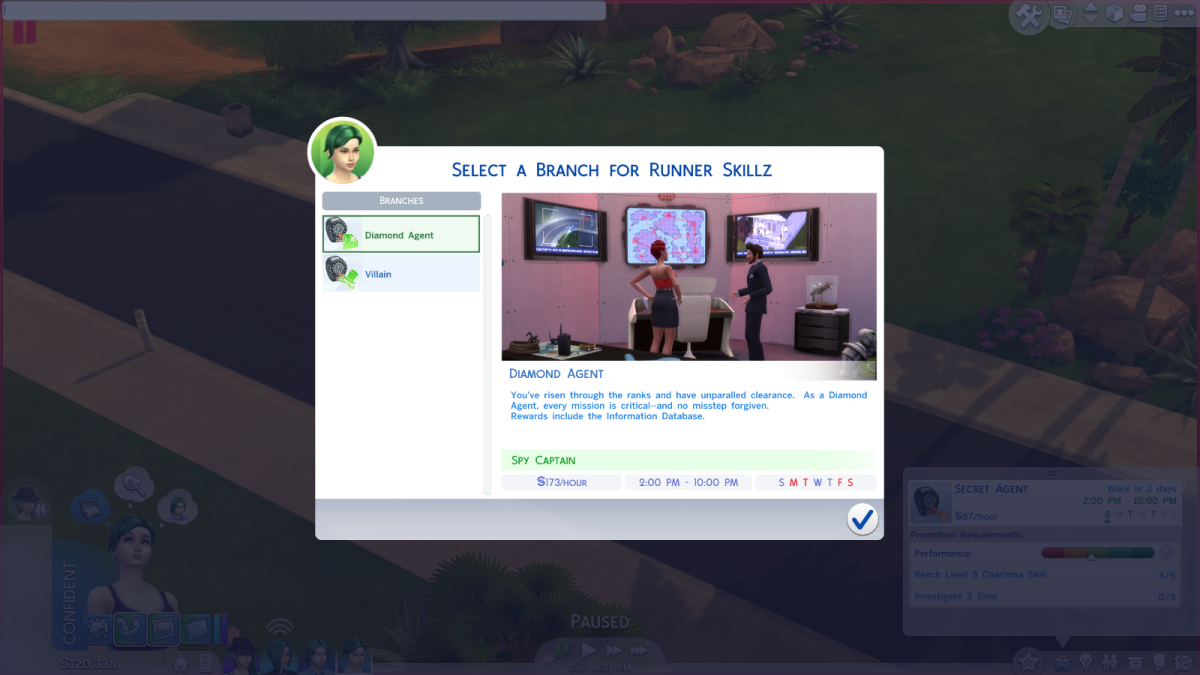 The Diamond Agent career path in The Sims 4.