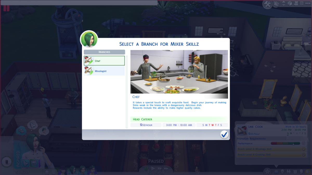 The Chef career path in The Sims 4.
