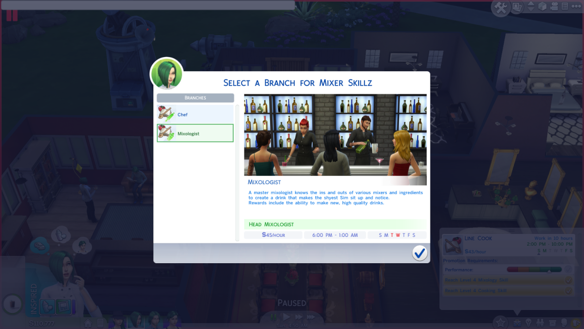 The Mixologist career path in The Sims 4.