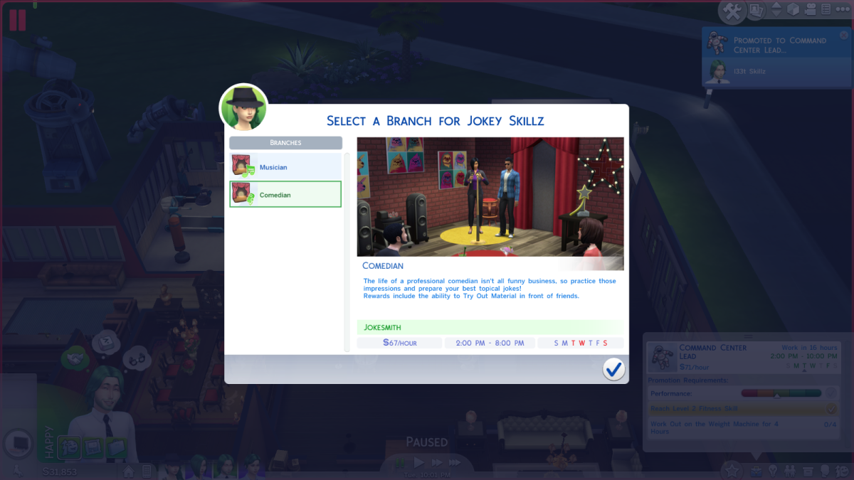 The Comedian career branch in The Sims 4.