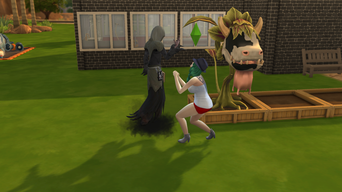 The Grim Reaper in The Sims 4. Only the Reaper can stop a death in motion... and only if he feels like it.
