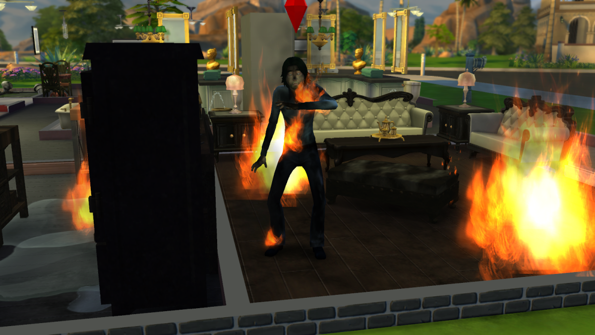 A sim on fire in The Sims 4. Ouch.
