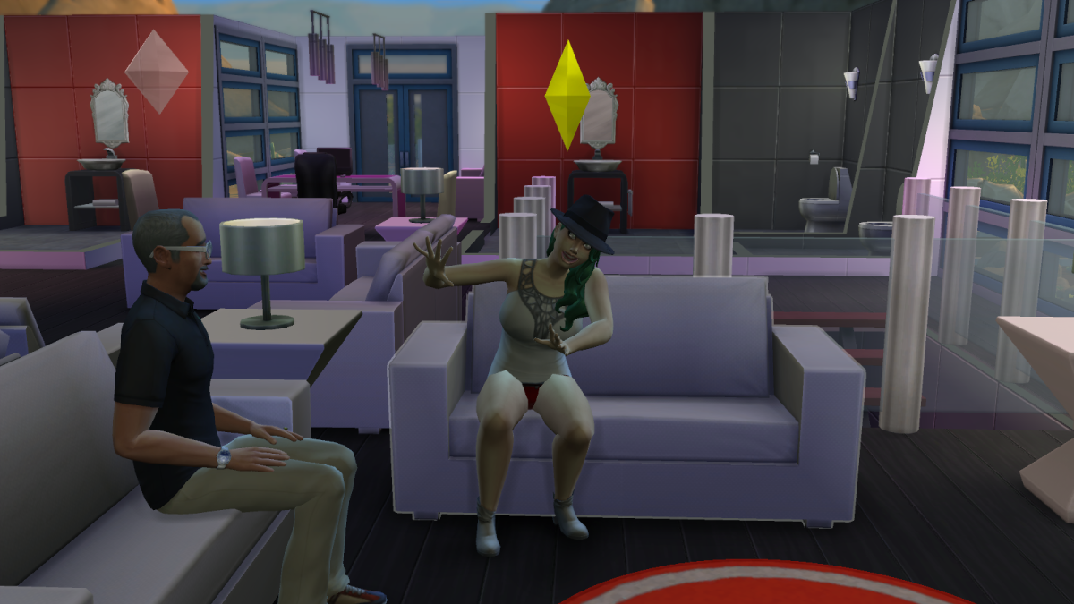 An overly-jolly sim in The Sims 4. Drive a sim to laugh too much and they may laugh themselves to death.