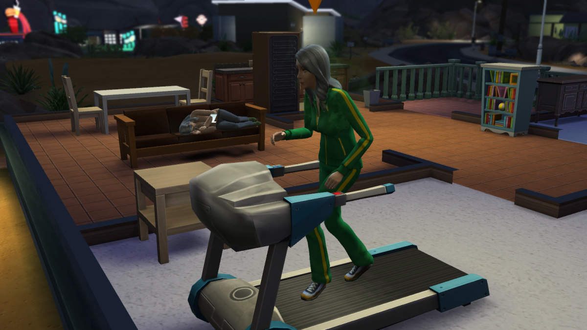 An elder sim on a treadmill in The Sims 4. Push your older sims too hard and they may die of exhaustion.