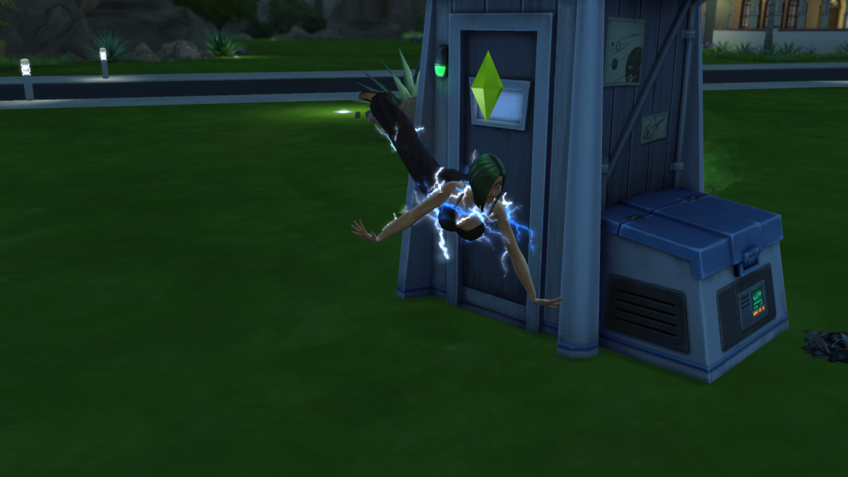 "A Sim being electrocuted in ""The Sims 4."" Never repair electrical items if your Sim has a low Handiness skill."