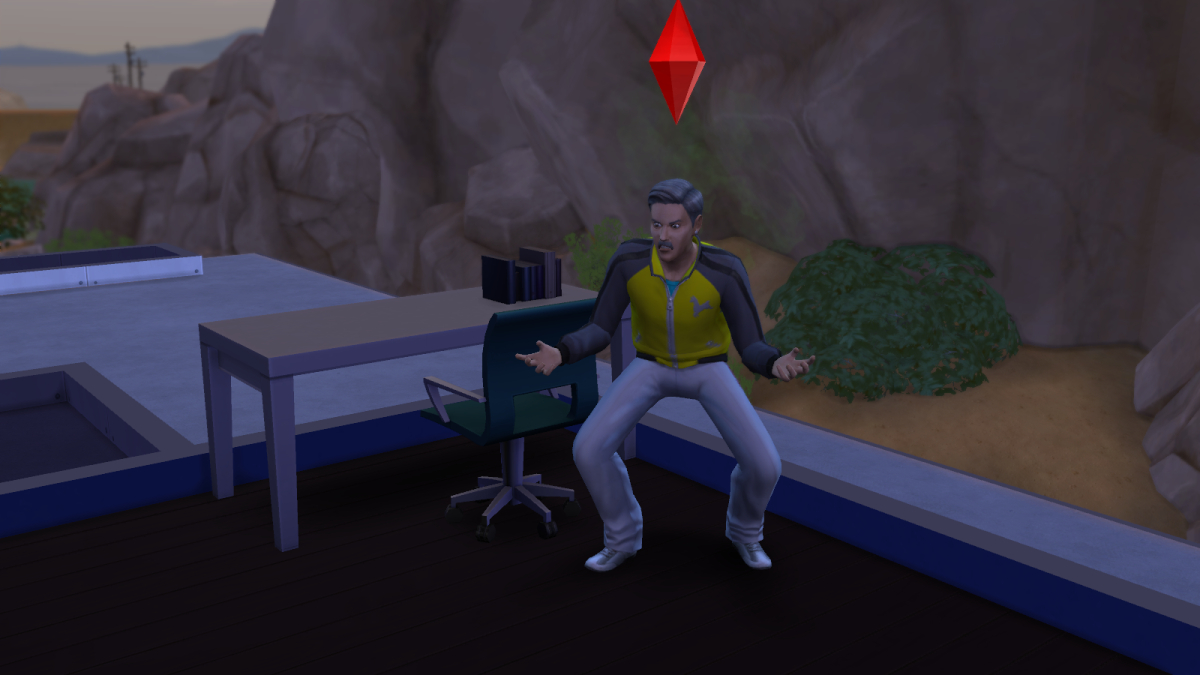 An angered sim in The Sims 4. Make a sim too angry and they can collapse from the stress of their anger.