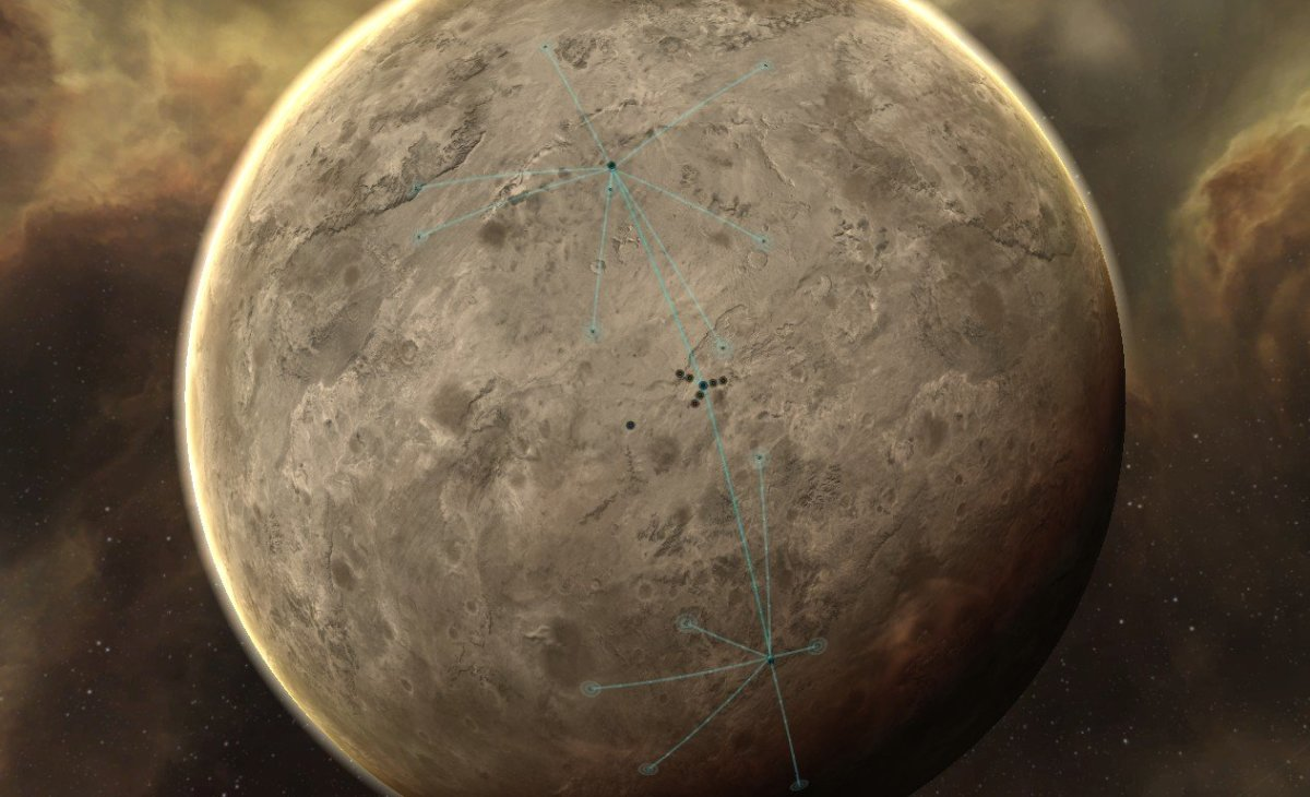 A planet in Eve Online which is being mined.