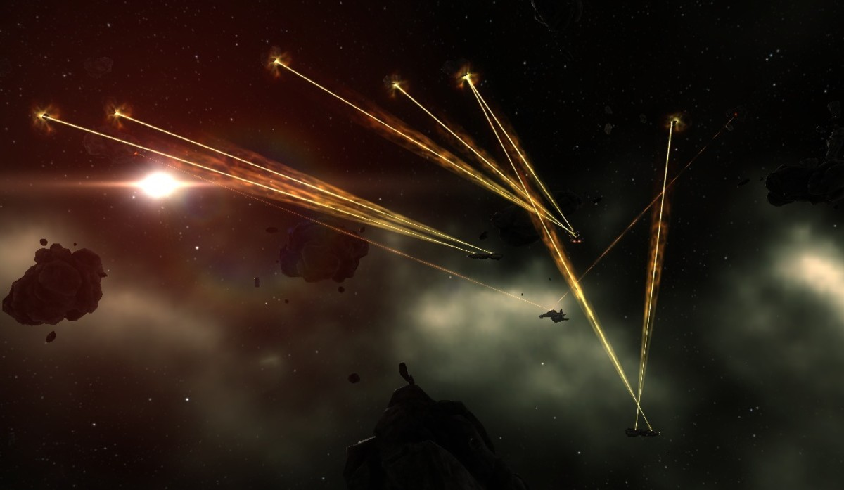 """A fleet of mining barges working at an asteroid belt in """"Eve Online""""."""