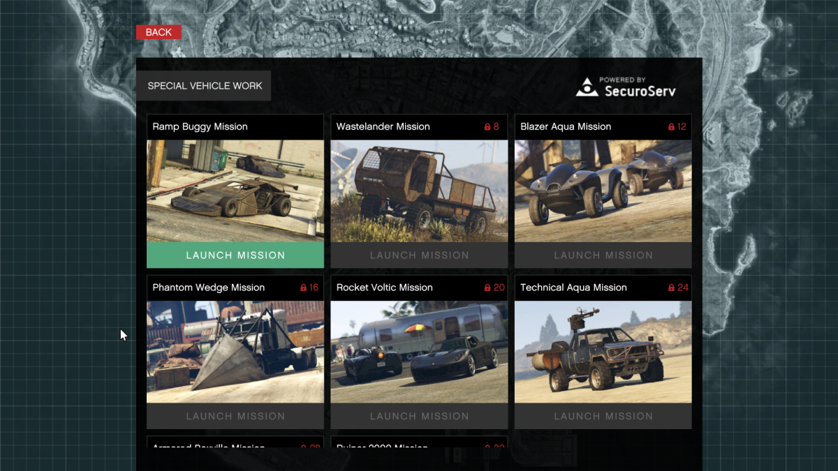 The Special Vehicle mission screen at your Securoserv office computer.