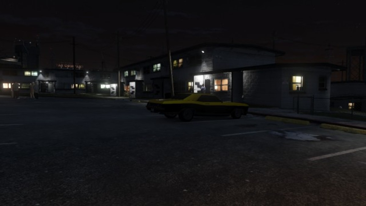 The first location of Vagos gang cars. Up to three can be parked on this parking lot at one time. All of them are yellow. This is a Buccaneer.