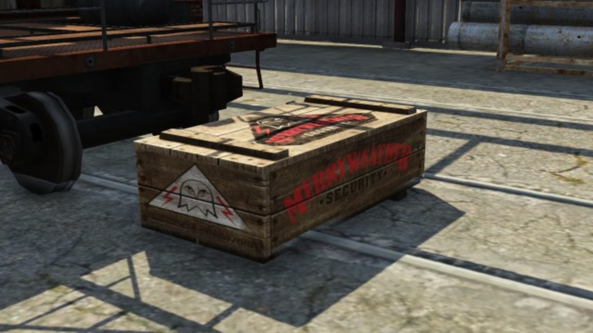 In addition to the green crates, Merryweather Gang Attacks have their own that look like this.
