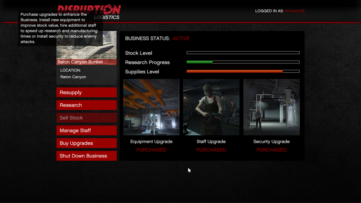 Bunker upgrades page. Security, Staff, and Equipment (in that order) work the same way as they do with Biker Businesses.