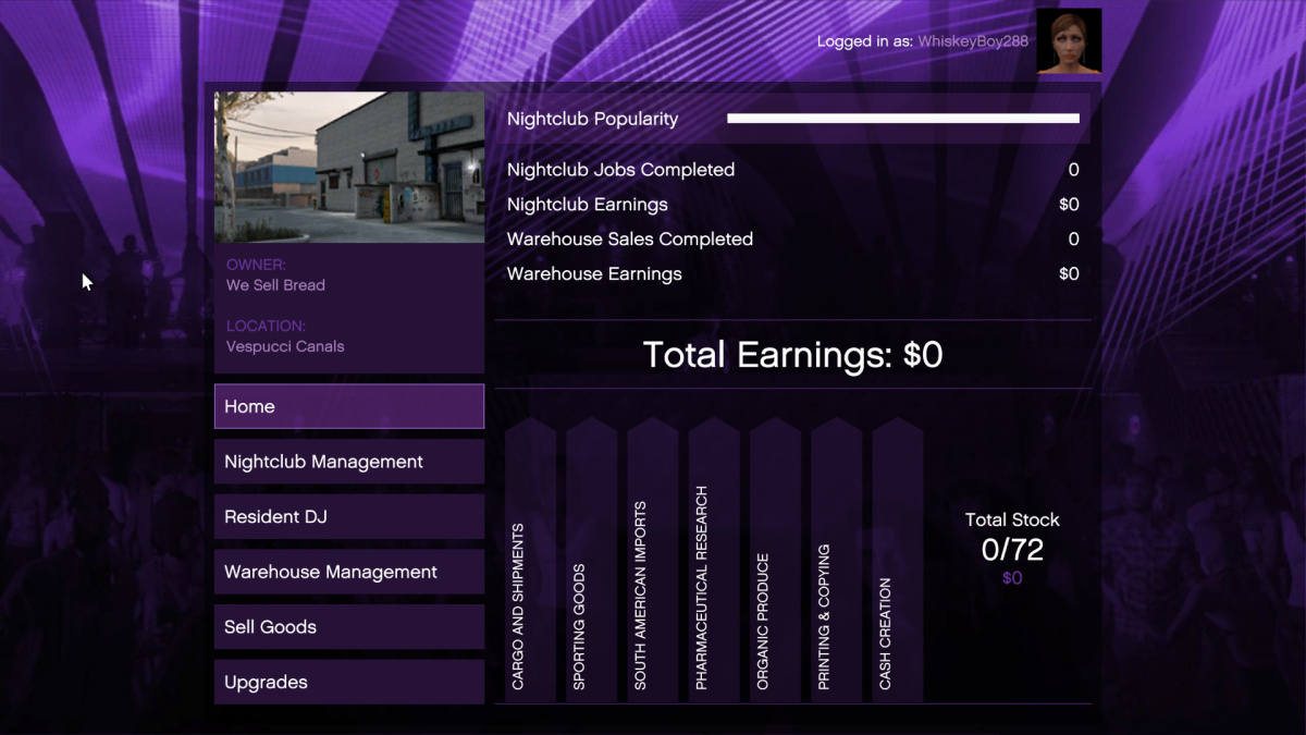 The main screen of the Business Computer and Nightclub management.