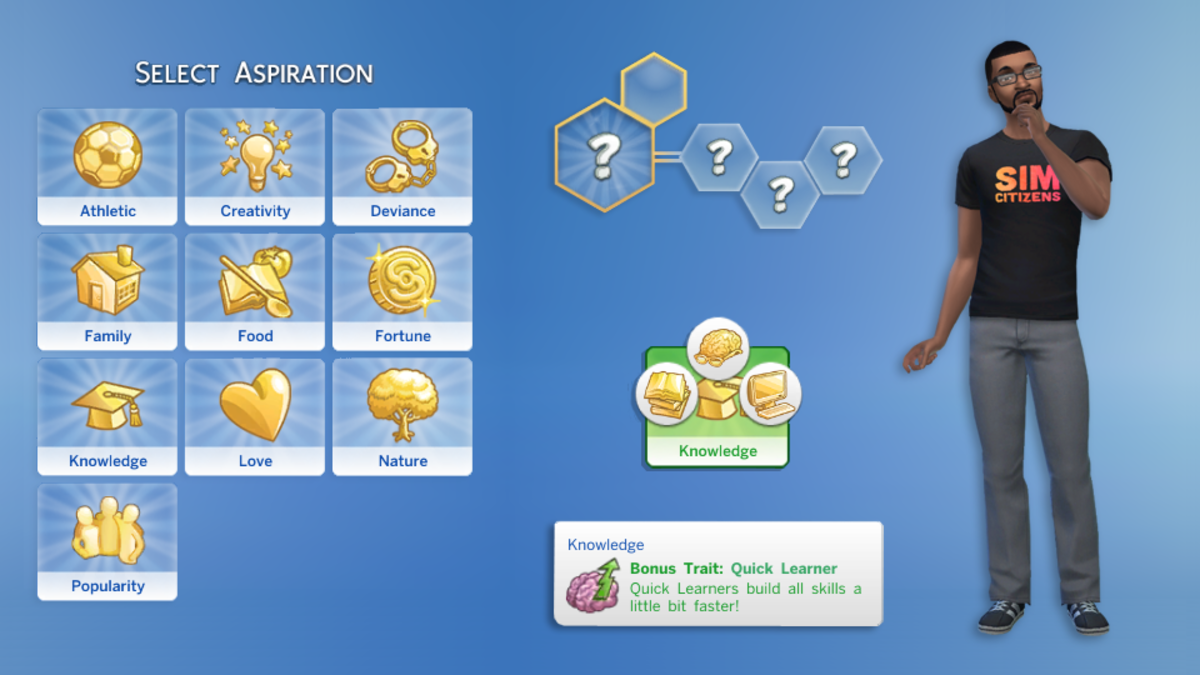 You choose your Sim's Aspiration when you create them, but you can change it at any time during the game.