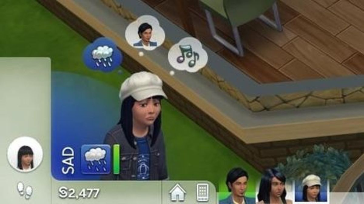 A look at a Sim's whims.  This sad Sim has a whim to...well, I'm not too sure. Maybe stand under a rain cloud?