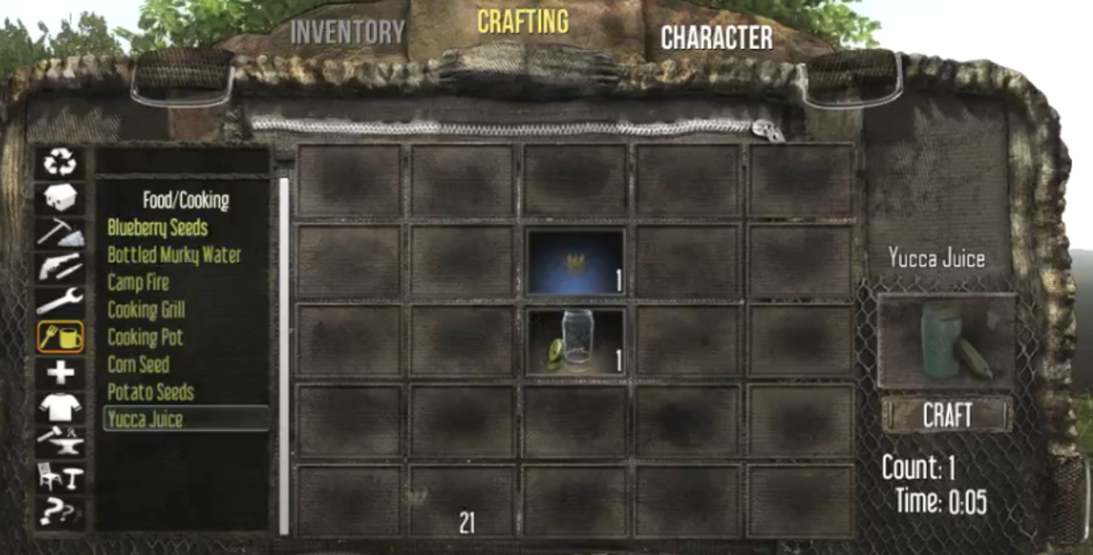 Unlike most beverages, Yucca Juice is created in the crafting interface