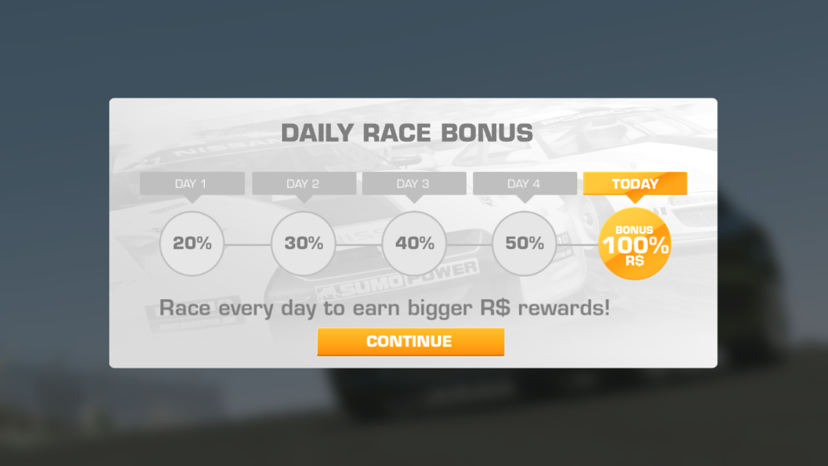 Play daily to get 100% bonus on your first race of the day.