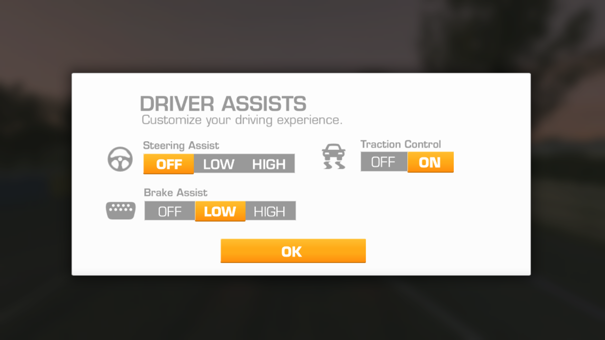 Click on settings, (lower left corner of game), then the middle setting (car image) and you can set the assist levels you prefer.