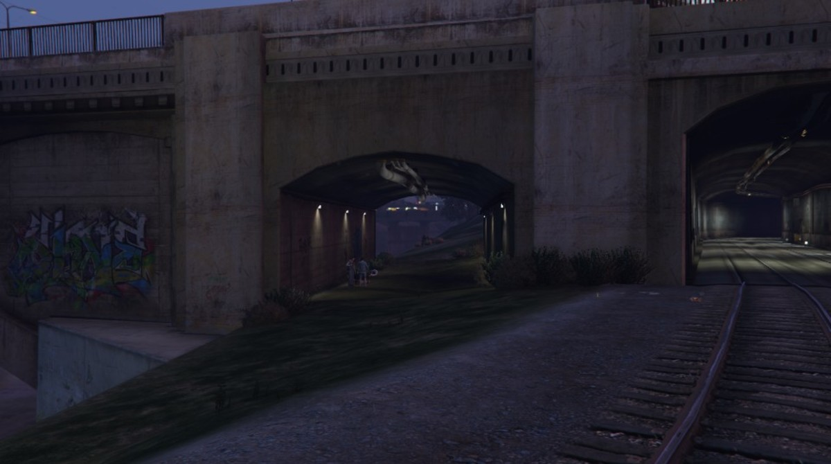 The tunnel where you should hold up to escape your three-star Wanted Level.