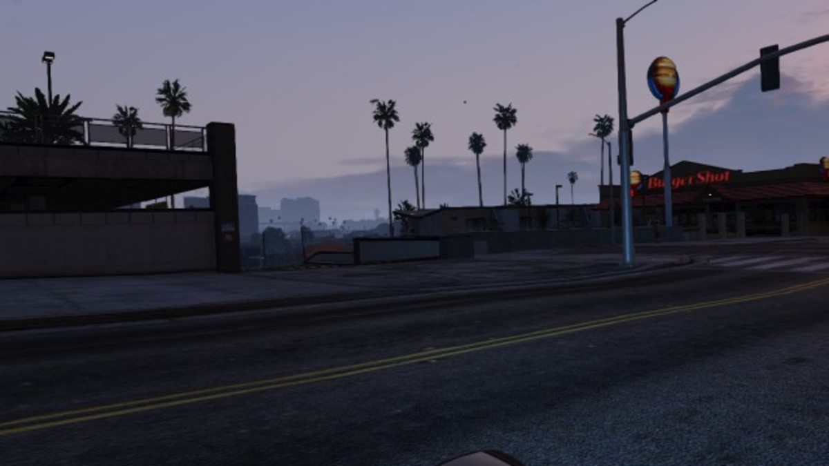 This is the entrance to the ramp that leads down to the riot van. You can't crash through the gates in this mission like you can in Free Roam.