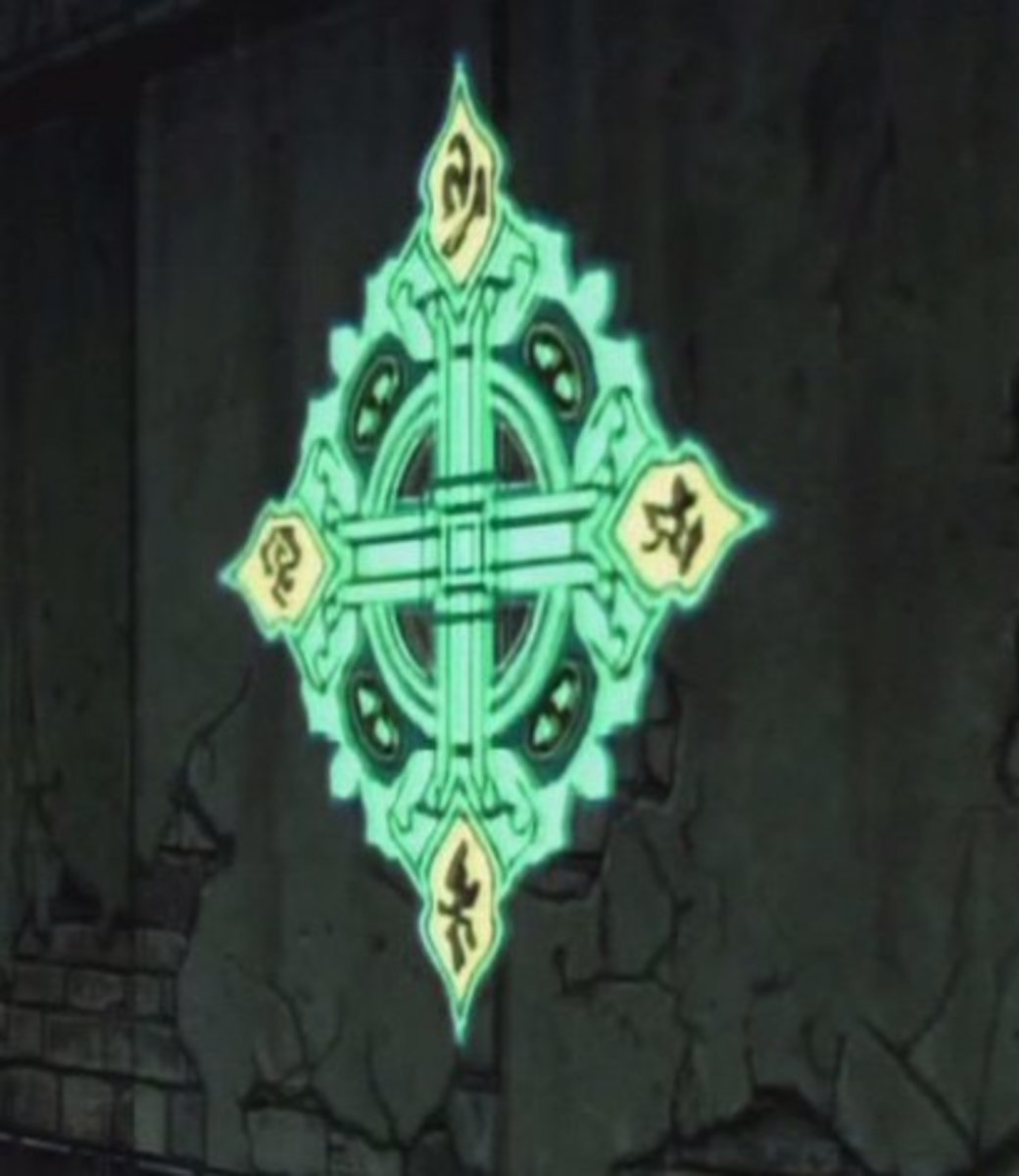 "This snazzy-looking glyph in Besaid's Cloister is a compass rose, but I think it's been flipped vertically! Teleport pads use the same design, with ""North"" at the bottom."