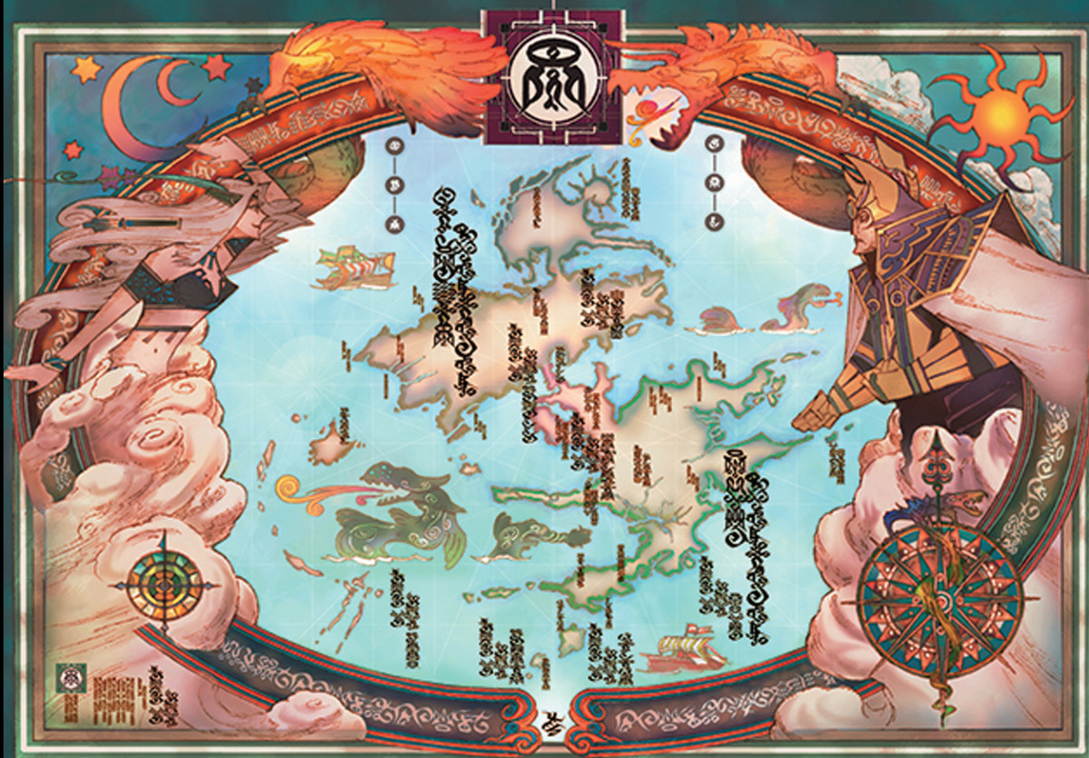 Original Map of Spira. Zaon and Yunalesca frame the map along with a sun and moon. Remember what Tidus' and Yuna's names mean?