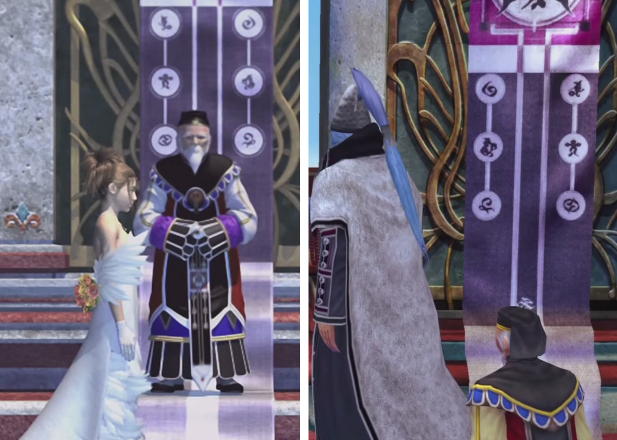"The ""Six Signs"" on a banner at the wedding. (Left: FMV, Right: In-game, which has them flipped horizontally."
