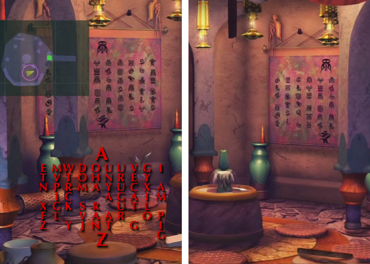 Besaid Temple: two side rooms, with same inscription on the wall. I always assumed this was the Teachings of Yevon, but in the original game it was illegible. The signs are grouped to suggest words or sentences (if they're being used as concepts).