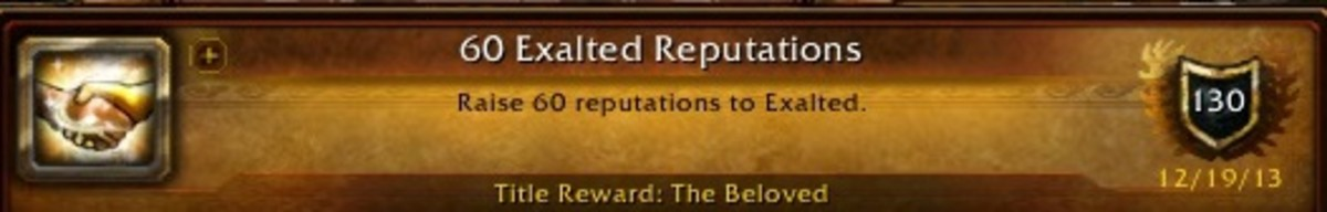 I earned the achievement for reaching Exalted with at least 60 different reputations back in 2013.