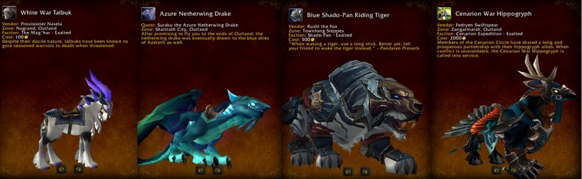 Here are a few mounts available after gaining Exalted status with several reputations.