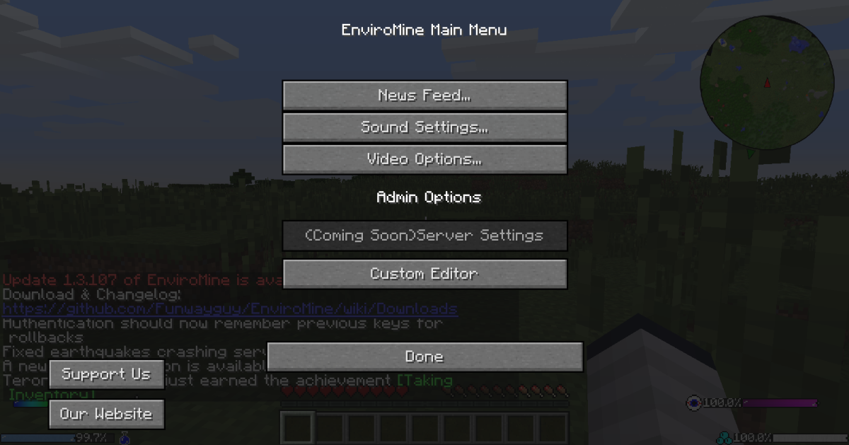 Enviromine has a lot of configuration options, and allows you access to many of them from in-game.