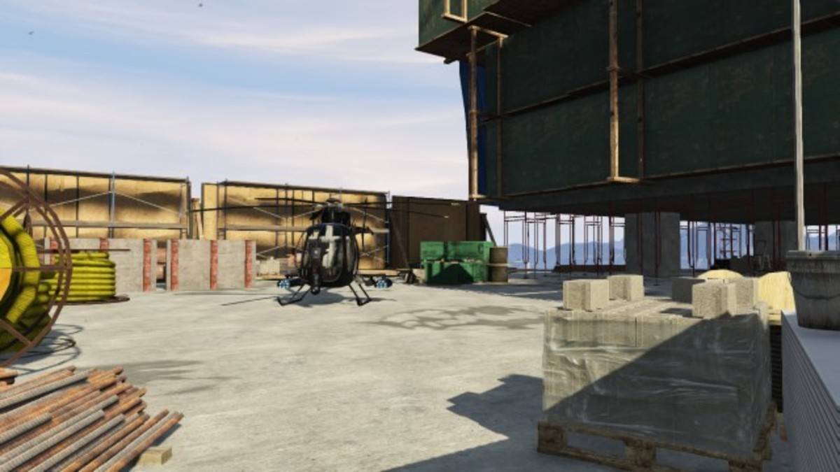 You can land the Buzzard on the lower roof, this will save you a climb to the roof.