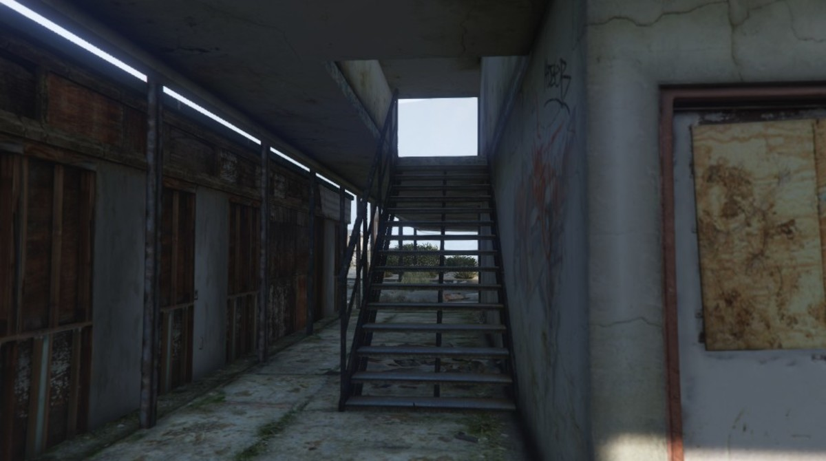 ...stairway that leads up to the sniper spot.