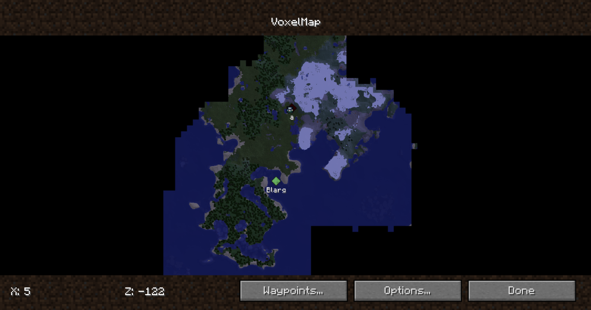 Voxelmap may not be the prettiest or most detailed of the bunch, but it has nearly everything you need and is a good bit lighter on your system.