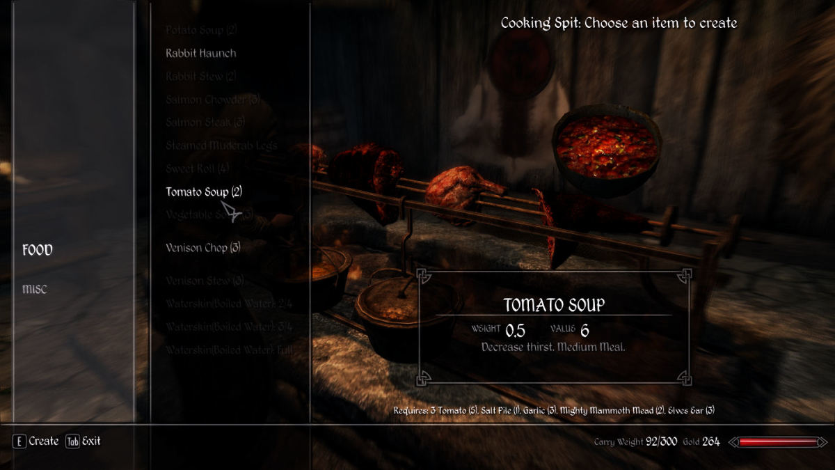 Cooking using the Realistic Needs and Diseases Skyrim mod.