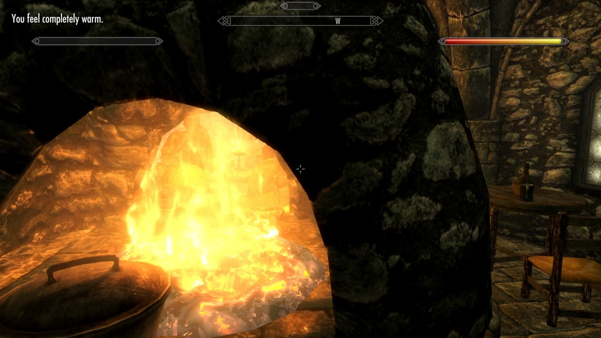 Now, I am warm and dry and ready to continue adventuring in Skyrim using the Frostfall mod.