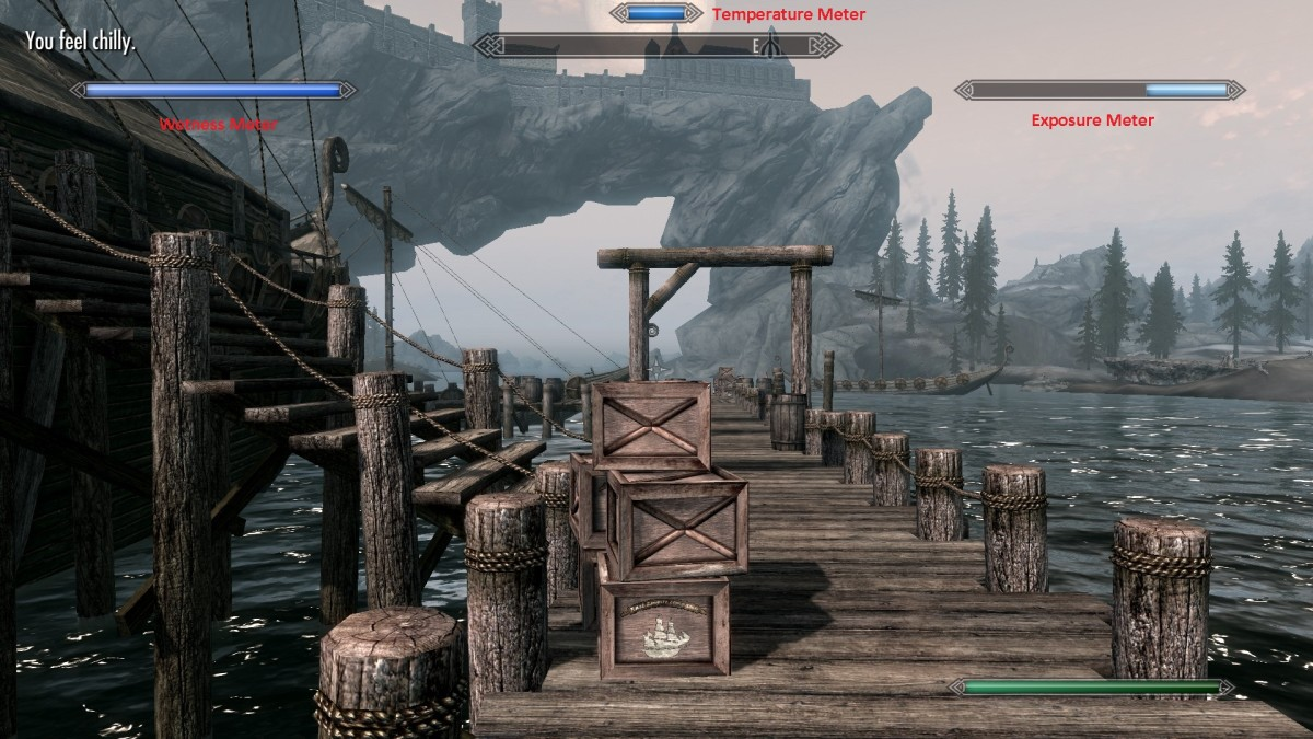 Frostfall mod in action, showing how Weathersense shows the current condition of my character.
