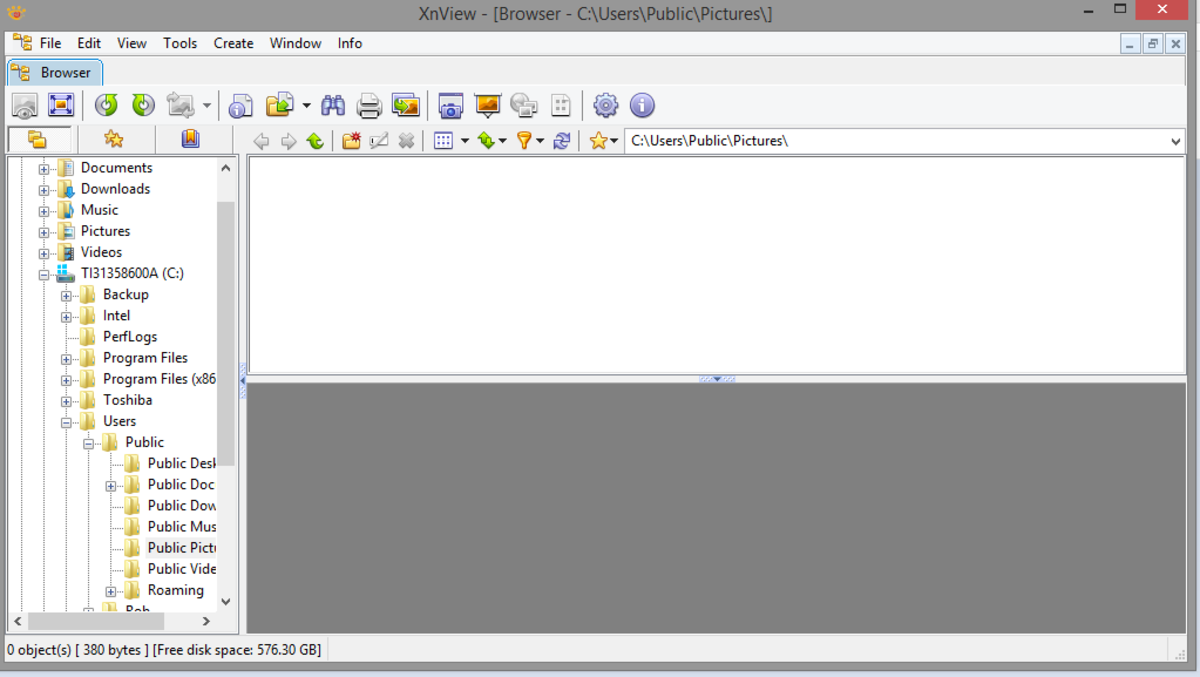 The main XnView interface.