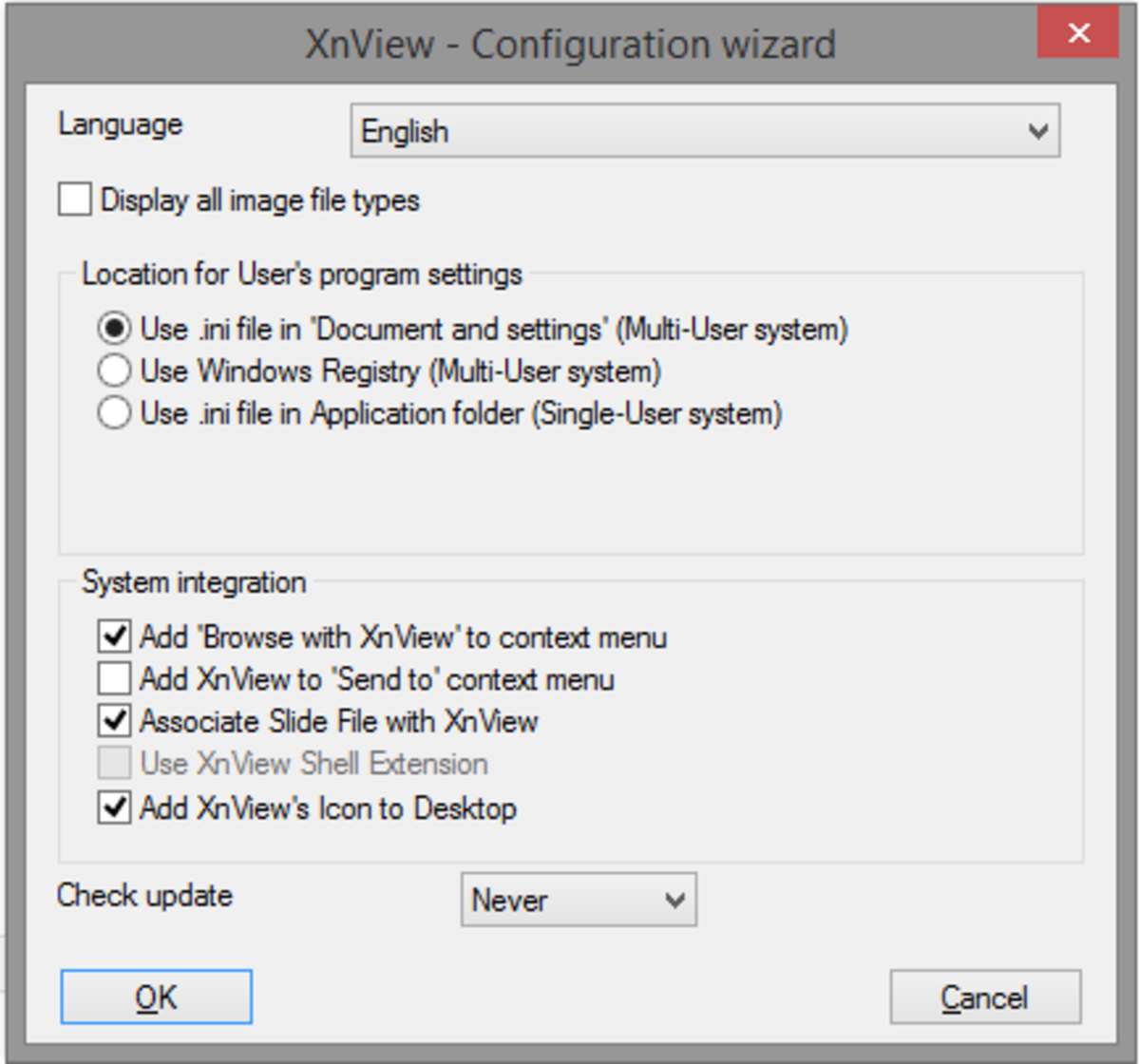 The initial configuration screen for XnView, click OK to accept the default values.
