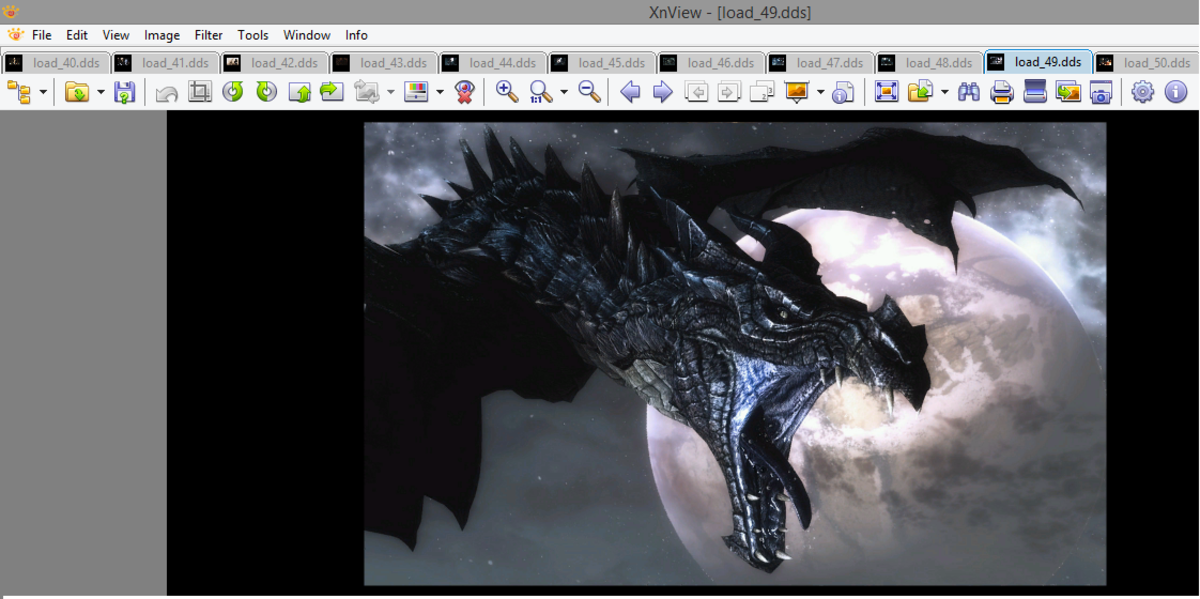 """XnView showing the contents of a texture file in """"Skyrim"""" from the mod VictoriaG Load Screens."""