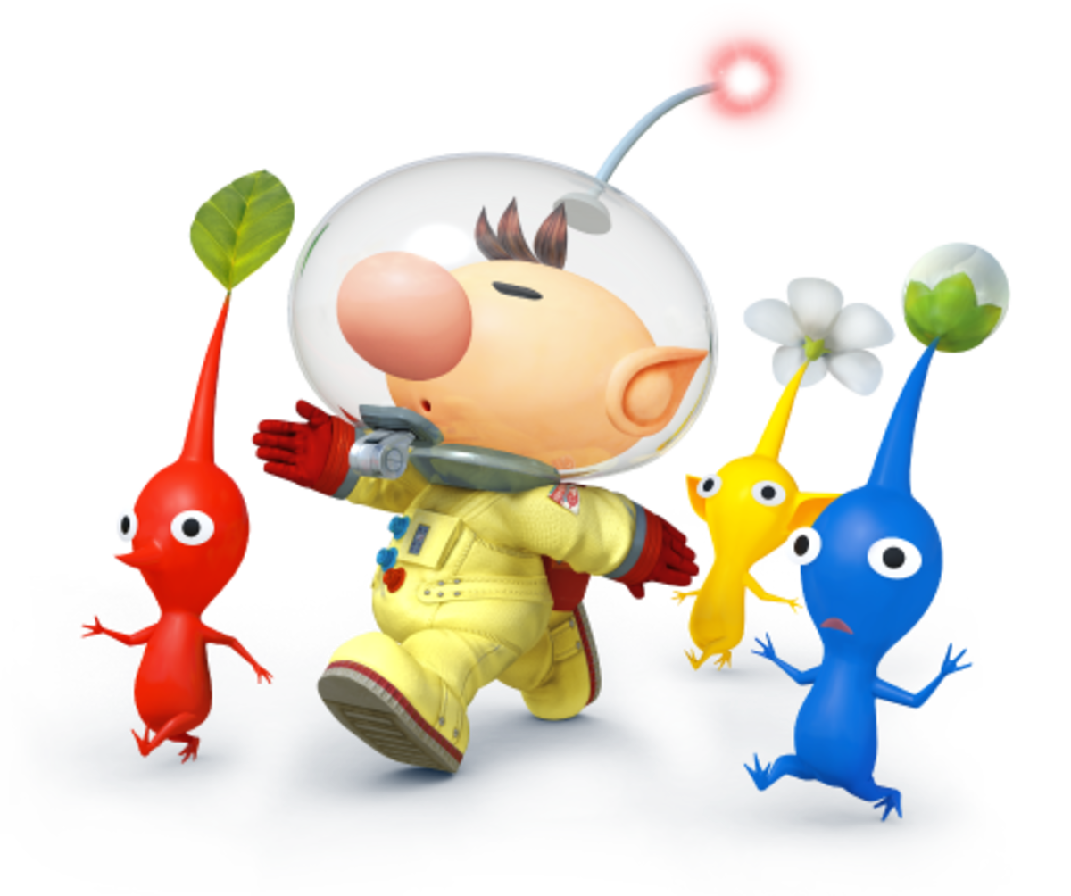 "Olimar and Three Pikmin in ""Smash 4"""