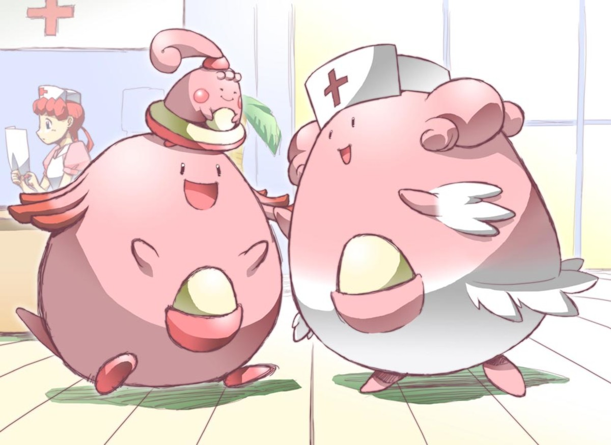 Blissey (right) with prior evolutions Happiny and Chansey.