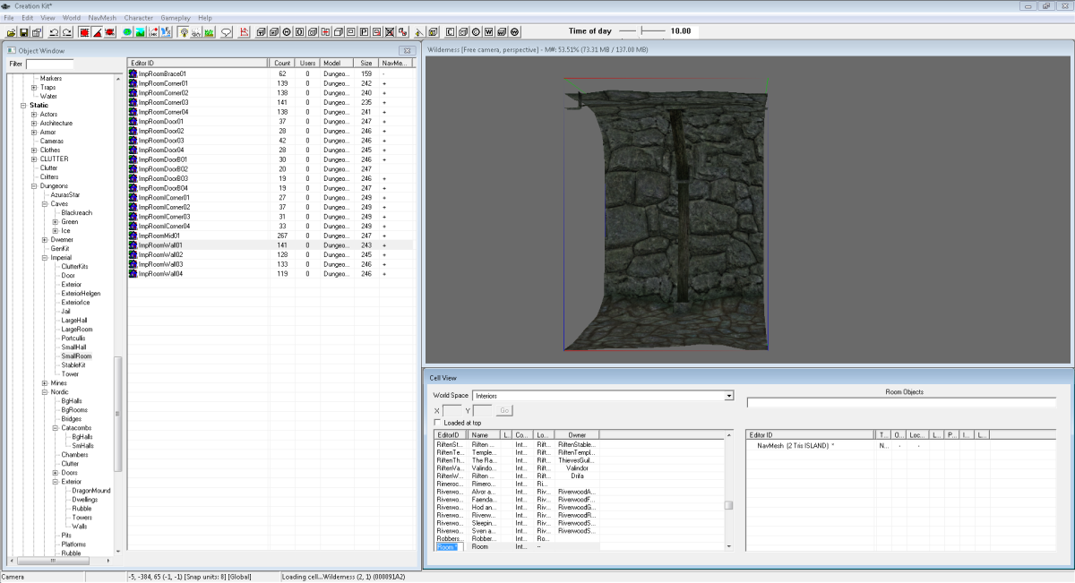 The Render Window in the Skyrim Creation Kit allows you to see what your mod will look like in game.
