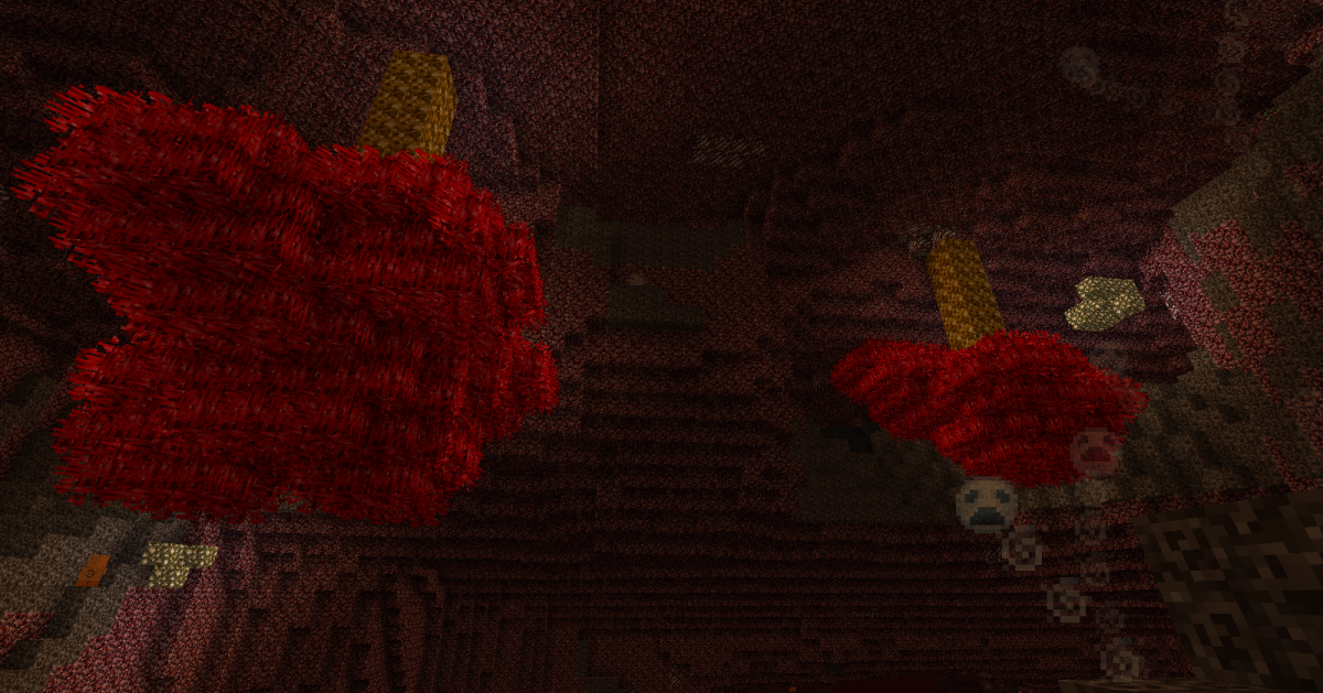 Bloodwood trees are fire-resistant plants that hang from the Nether's roof, and the wood can be made into fairly effective tools and weaponry.