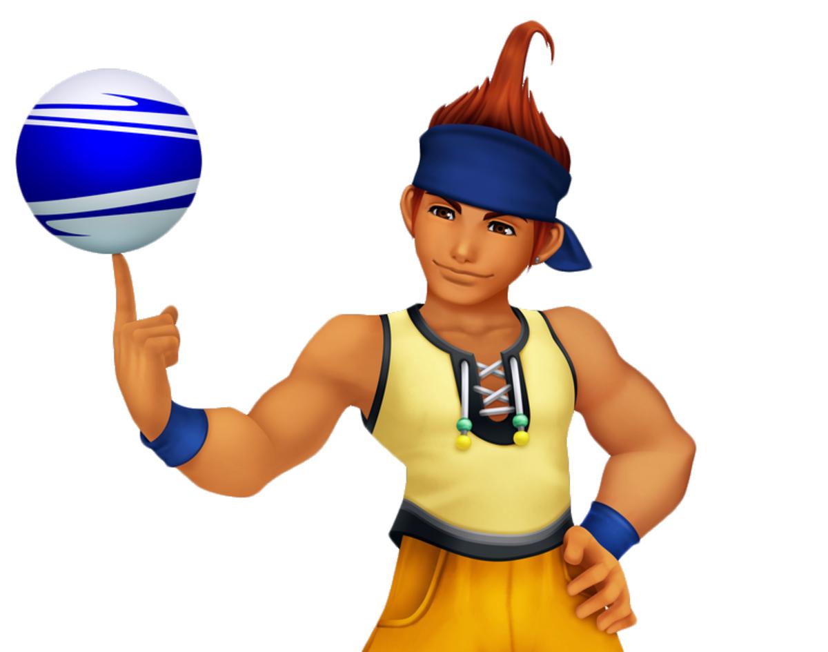 Wakka and his blitzball in Kingdom Hearts