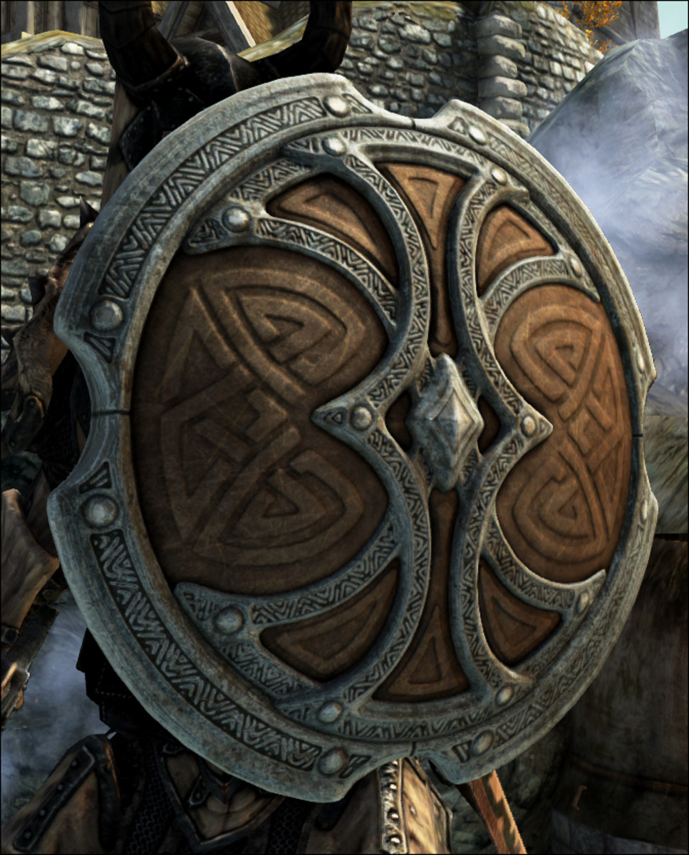 "An example of the wonderful shields available for ""Skyrim"" created by Dreogan in the mod ""Skyforge Shields""."