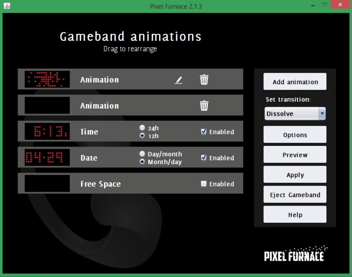 PixelFurnace allows you to completely customize your Gameband's functionality.