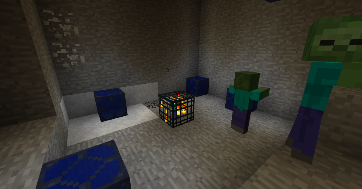 Lapis Lamps provide a lot of visible light to areas, but do not affect monster's ability to spawn.