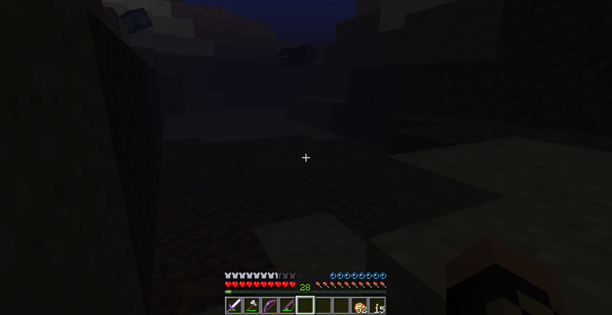 While underwater, bubbles above the hunger bar pop until the player drowns.